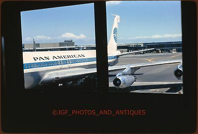 1960S Pan American Am Plane Parked At Airport Gate Amateur 35Mm Photo Slide