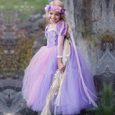 Kids Girls Rapunzel Princess Costume Tulle Party Cosplay Carnival Fancy Dress Up