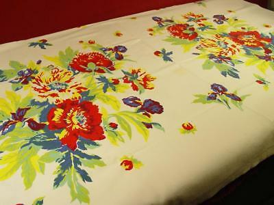 VINTAGE 1940s HEAVY LINEN COTTON TABLECLOTH COLORFUL PEONY & IRIS PRINT 46X54