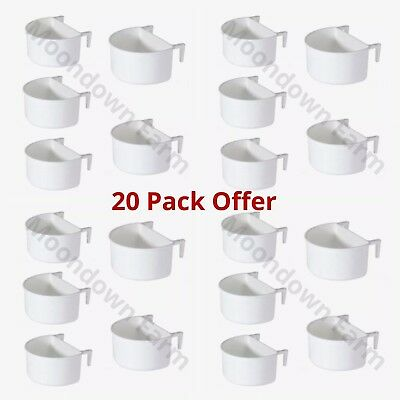 20x Plastic D Cup Feeder Pots 7.5cm with hooks - Finch, Canary, Budgie