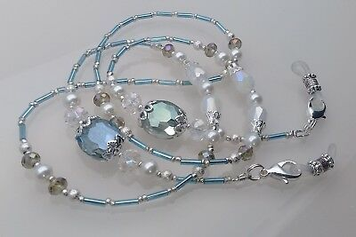 Spectacle Glasses Eyeglass Beaded Luxury Chain Aquamarine & Crystal S1738