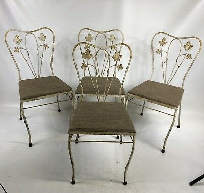 4 Mid Century SALTERINI White Wrought Iron Patio Chairs