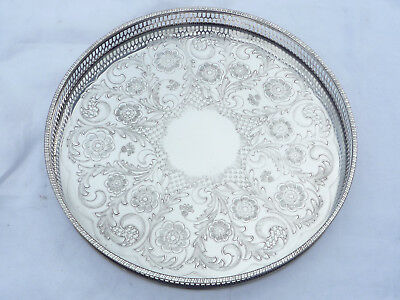 """Viners Of Sheffield """"alpha Plate"""" Silver Plated Circular Galleried Tray"""