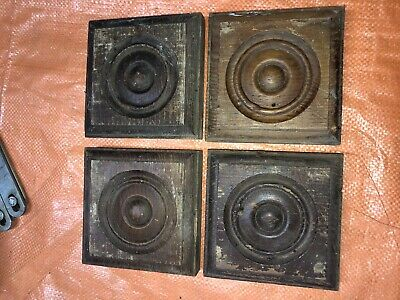 Antique Victorian Bulls-Eye Corner Molding Blocks Old Chippy Paint Set 4 Solid