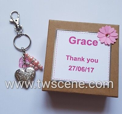 Wedding birthday Christmas locket keyring gift with gift box personalised