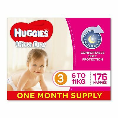 Huggies Ultra Dry Nappies Girls Size 3 Crawler 6-11kg 176 Count One-Month Supply