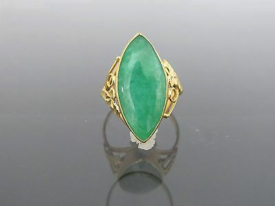 Vintage 18K Solid Yellow Gold Marquise Natural Green Jadeite Jade Ring Size 8