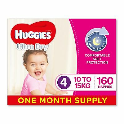 Huggies Ultra Dry Nappies Girls Size 4 Toddler 10-15kg 160 Count