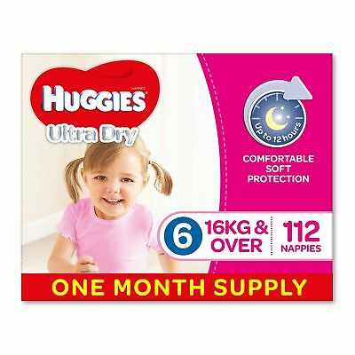 Huggies Ultra Dry Nappies Girls Size 6 Junior 16kg+ 112 Count One-Month Supply
