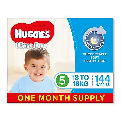 Huggies Ultra Dry Nappies Boys Size 5 Walker 13-18kg 144 Count One-Month Supply