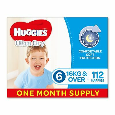Huggies Ultra Dry Nappies Boys Size 6 Junior 16kg+ 112 Count One-Month Supply