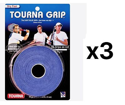Tourna Tennis Racquet Over Grip 10 Overgrips Absorbent Dry Feel Blue (3-Pack)