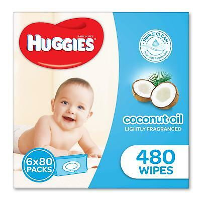 Huggies Coconut Baby Wipes Bundle Pack of 480 (6 x 80 Pack)