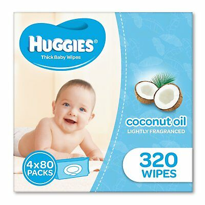 Huggies Coconut Baby Wipes Bundle Pack of 320 (4 x 80 Pack)