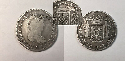Mexico Zacatecas 1821 2 Reales - Brockage or Die Clash Error - Silver