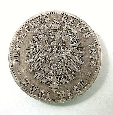 1876A  Prussia  Two Mark Silver Coin  -  Reform Coinage  -  Used Condition