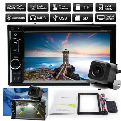 6.2'' Double 2Din Car Stereo DVD CD Player FM Bluetooth Touch Screen + Camera US