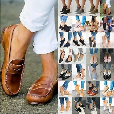 Women Flat Casual Slip On Brogues Oxfords Comfort Loafers Sneakers Trainer Shoes