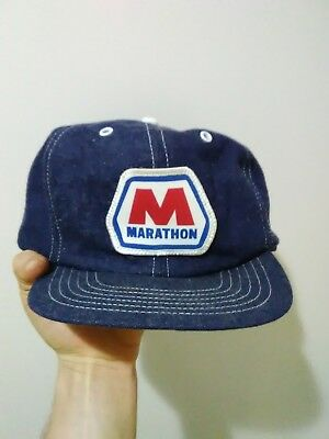 Vintage 70s MARATHON Snapback Trucker Hat Cap Denim Patch Made In USA Gas  Oil ecc3cc16f5af