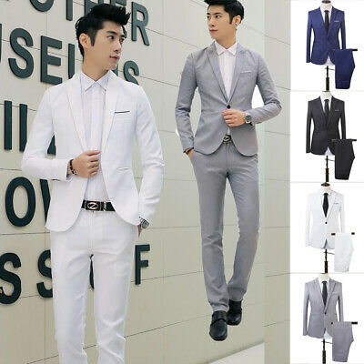 Two Piece Men's Solid Color Cotton Suits Trousers Formal Business Wedding Party