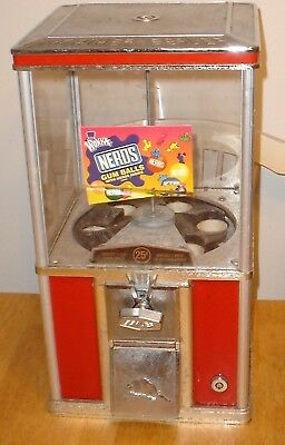 Vintage Large Northern Beaver Red 25 Cent Coin-Op Nerds Gumball / Candy Machine