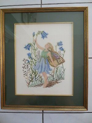 Craft Hand Made Cross Stitch Fairy Picture Completed And Framed
