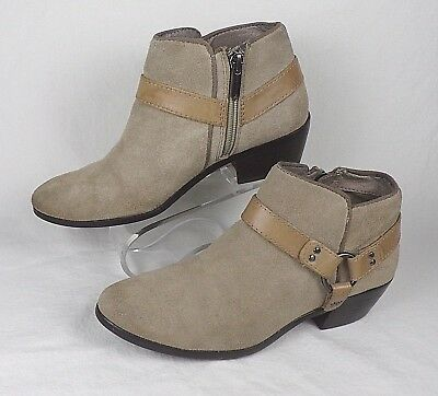 e2153cf83 Ankle Boots Sam Edelman Womens 6.5M Suede Leather Lt Brown Zip-Up Harness  Ring