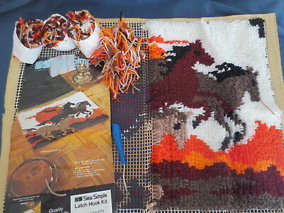 Sew  Simple Craft Latch Hook Kit Galloping Trio Horses E713 Started Needs Finish
