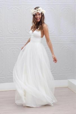 caf1a7eae0 Beach Spaghetti Straps Backless Bridal Gowns Tull Wedding Dresses Plus Size  6-22