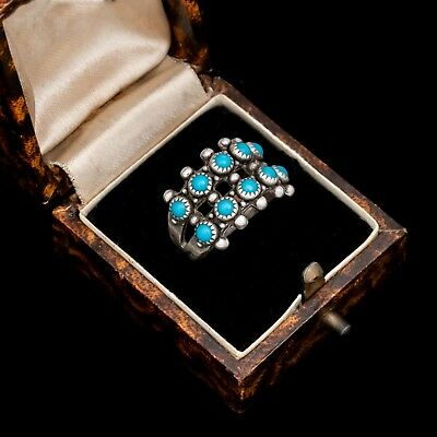 Antique Vintage Native Navajo Sterling Silver Double Row Turquoise Ring Sz 5.25