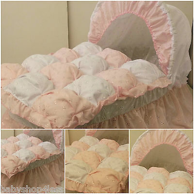 Moses Basket Dressing Covers  Pink B.a & White B.a Cotton Blend Girl New
