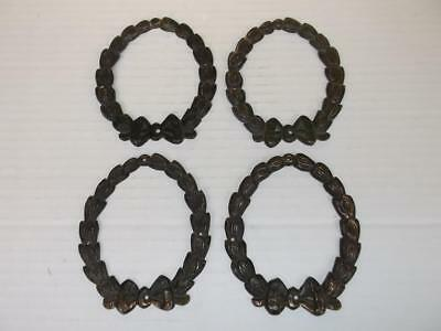 385 / Set Of 4 19Th Century Pressed Metal Furniture Fittings