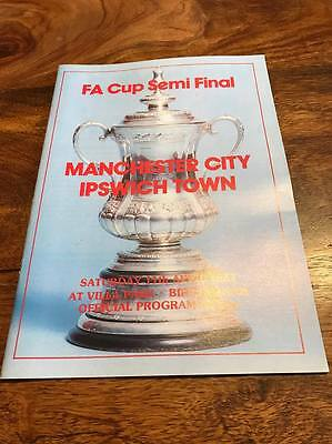 Manchester City V Ipswich Town 1981 Fa Cup Semi Final Programme Mint Free Post