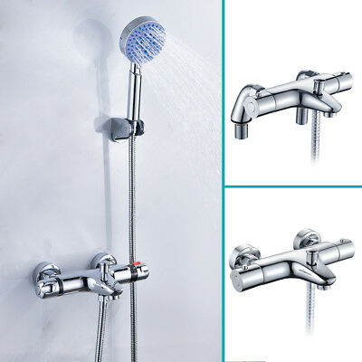 Thermostatic Bathroom Taps Shower Mixer Wall Mounted Chrome/Bath Filler Tap Deck