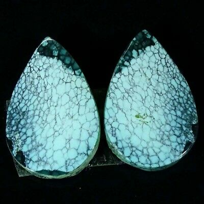 18.10Cts A+ Tibet Turquoise Pear Pair Cabochon Loose Gemstone