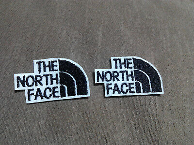 2 PARCHES BORDADOS para coser estilo THE NORTH FACE 5/3 cm negro adorno ropa