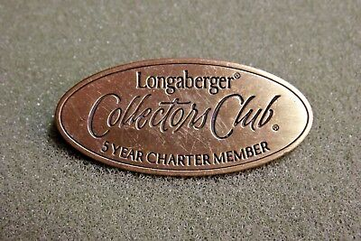 Longaberger Collector's Club 5 Year Charter Member Lapel Pin Gold Toned