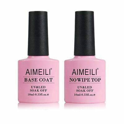 Aimeili Soak Off Uv Led Gel Nail Polish - Base And No Wipe Top Coat Kit Set 10ml
