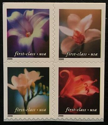 2000 Scott #3454-3457, (34¢), FLOWERS - MNH - Dbl Sided Block of 4 - 8 Stamps