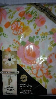 VTG Fashion Manor Pair 2 Pillowcases Penn Prest floral orange pink green NOS