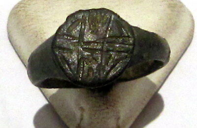 Beautiful Post-Medieval Bronze Ring With Engraving On The Top # 80A