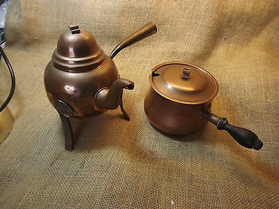 Antique Two Copper Arts And Crafts Pots With Lids Decorative Only