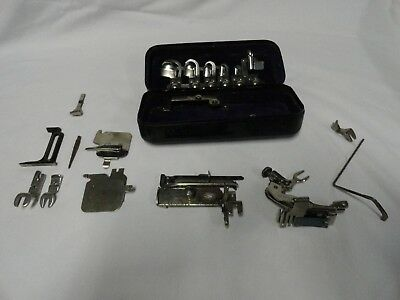 Greist Rotary Vintage Sewing Machine Attachments W/ Metal Box