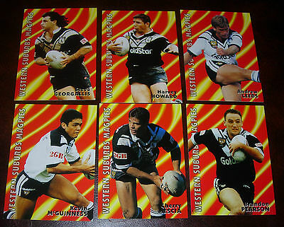 1997 WESTERN SUBURBS MAGPIES Set of 6 Cards~Dynamic Rugby League Cards~NRL CARDS