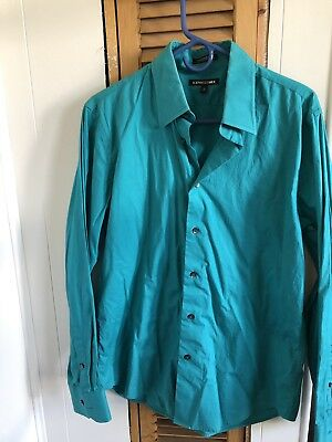 Express Mens M Modern Fitted Size Medium Aqua Color Blue Dress Shirt