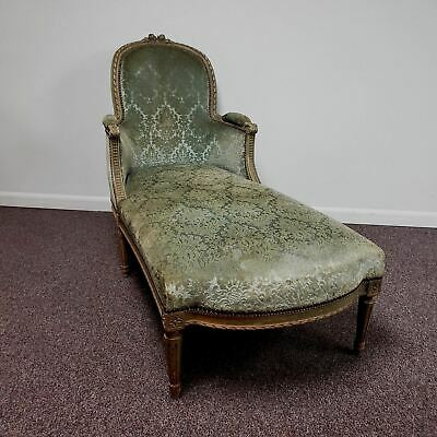 19th Century Louis XVI Style Antique French Chaise with Velvet Damask Upholstery