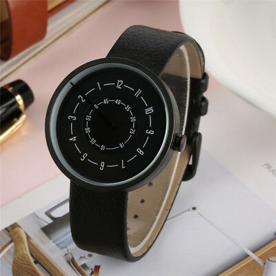 Luxury Women Men Simple Quartz Analog Watch Leather Band Wrist Watches Bangle
