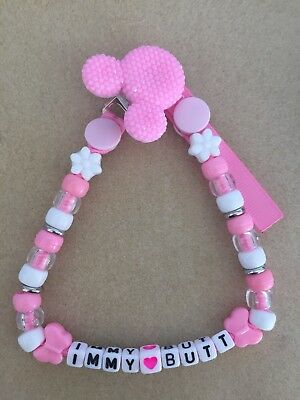 Personalised Dummy Saver Clip Bling Minnie Mickey Mouse