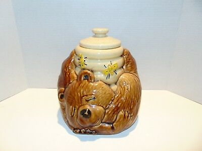 Vintage McCoy USA (#143) Brown Bear & Honey Bee Hive Cookie Jar with Lid