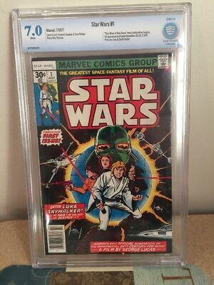 STAR WARS #1 CBCS 7.0 WHITE Pages 1977  30 cent- 1st Issue On Sale Before Movie